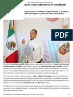 05-12-2018 Héctor Astudillo plantea temas educativos en reunión de Conago.