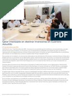 07-12-2018 Qatar Interesado en Destinar Inversiones en Guerrero.