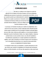 Arcadia - Comunicado 001-2019