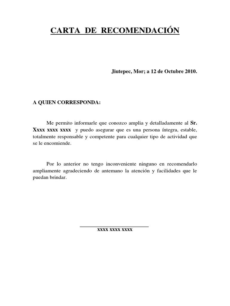 carta de recomendaci u00f3n  personal
