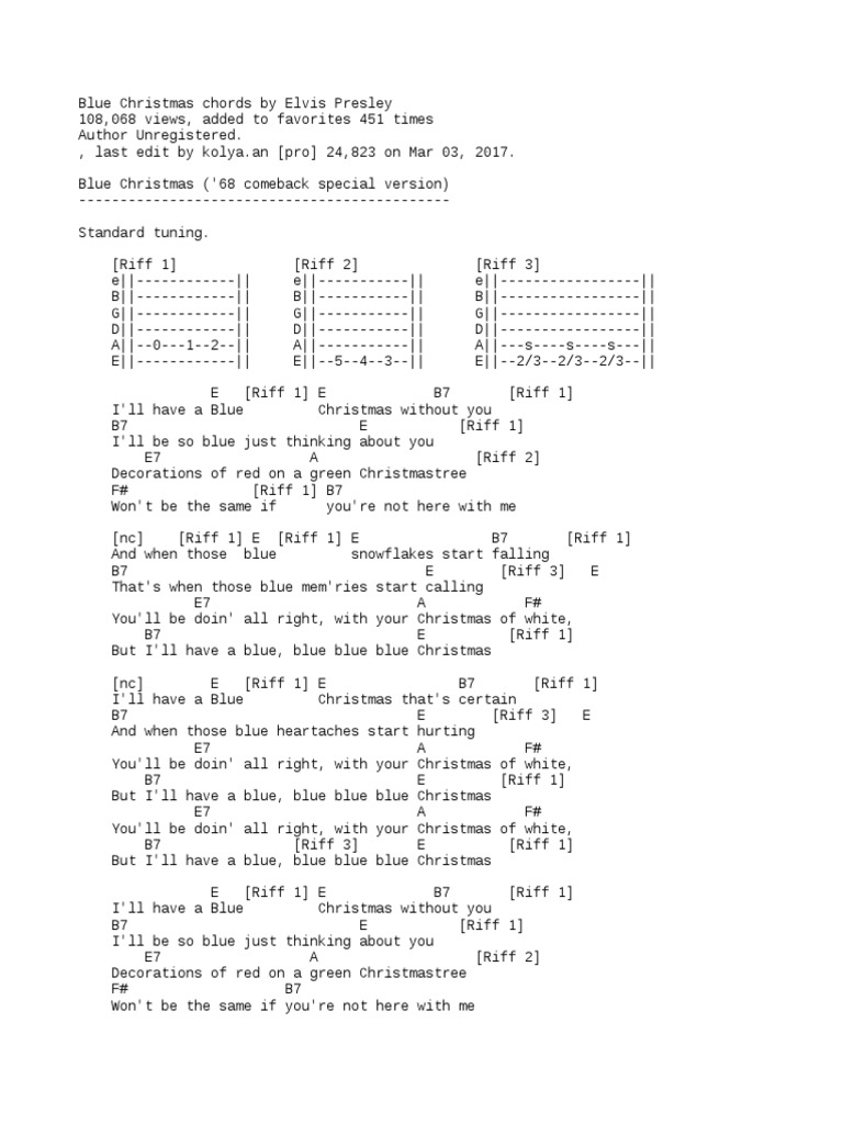 Last Christmas Chords.Blue Christmas Chords By Elvis Presley Musical Forms