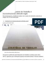 Extinção Do Ministério Do Trabalho é Inconstitucional, Defende Órgão - Política