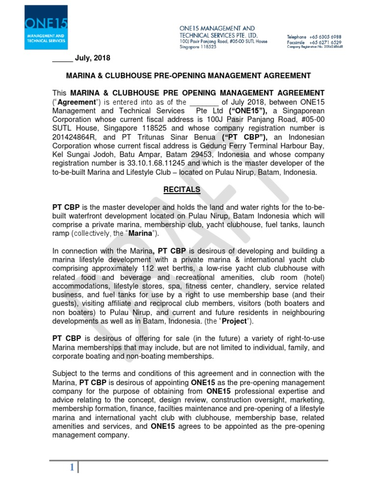 01 ONE15 Marina Nirup Pre-Management Consultancy Agreement - Final