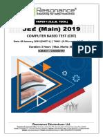JEE Main 2019 Chemistry January  Attempt Shift - 1(09th January, 2019)
