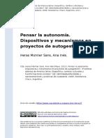 Heras Monner Sans, Ana Ines (2011). Pensar La Autonomia. Dispositivos y Mecanismos en Proyectos de Autogestiono