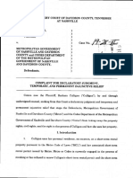 Barbara Culligan v. Metro Government of Nashville and Davidson County - Complaint