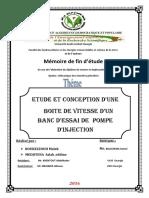 Etude Et Conception Une Boite de Vitesse Un Banc Essai de Pompe Injection