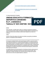 Unidad Educativa Formación Deportiva Carabobo