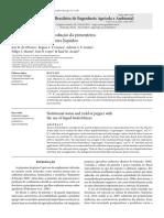 Estado Nutricional e Produção Da Pimenteira Com Uso de Biofertilizantes Líquidos