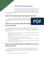 Quebec Family Class Sponsorship