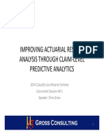 Improving actuarial reserves analysis through claim-level predictive analytics