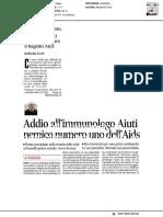 Addio all'immunologo Aiuti, numero uno nella lotta all'Aids - Il Messaggero del 10 gennaio 2019