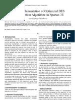 FPGA Implementation of Optimized DES Encryption Algorithm on Spartan 3E