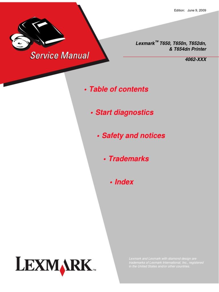 lexmark t652 t654 service manual implied warranty trademark rh scribd com lexmark t652-t654 service manual lexmark t652dn service manual pdf