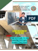 % de Absorcion Agregado FINO