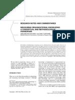 Measuring Organizational Knowledge
