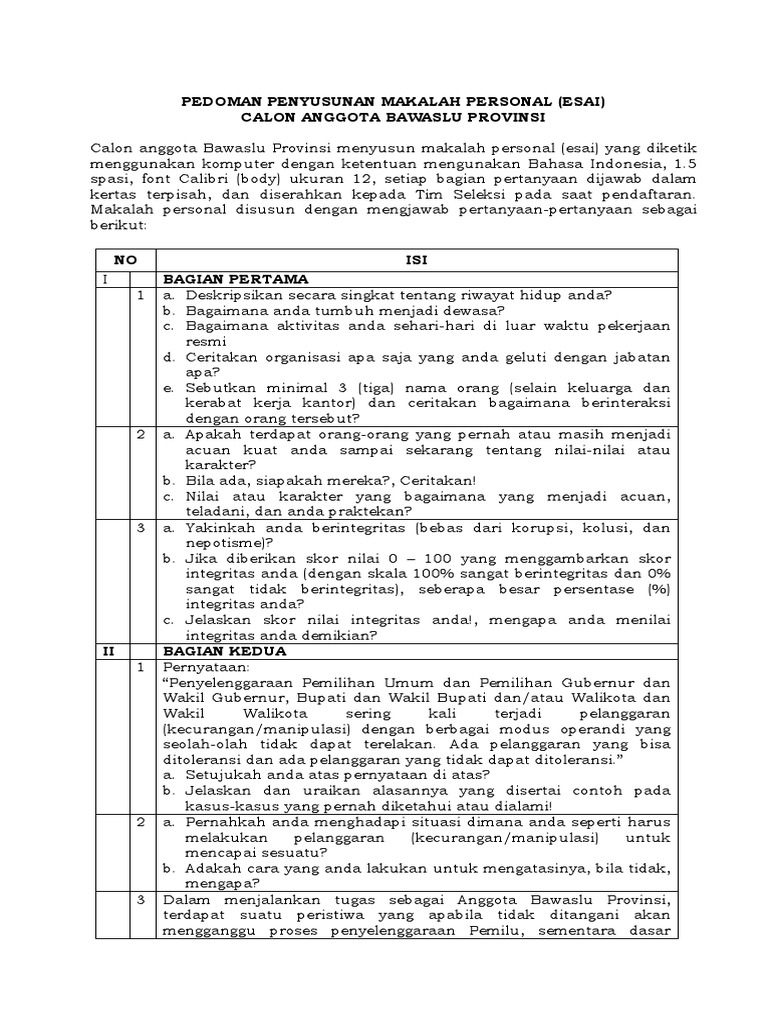 Form Pendaftaran Bawaslu Dki Jakarta