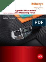 Mitutoyo - Mikrometry elektroniczne o regulowanym nacisku pomiarowym serii 227 - E12043 - 2018 EN