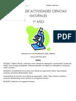 CARTILLA DE ACTIVIDADES CS. NATURALES  1° año ciclo 2018