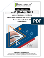 JEE Main 2019 Physics January Attempt Shift - 2(10th January, 2019)