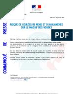 Communiqué de presse de la préfecture du Haut-Rhin sur les risques de coulées de neige et avalanches