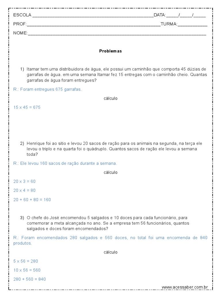 Problemas De Matematica 4º Ou 5º Ano Respostas 1