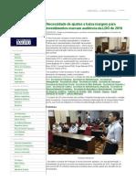 Necessidade de Ajustes e Baixa Margem Para Investimentos Marcam Audiência Da LDO de 2019 — Câmara Municipal de Bauru