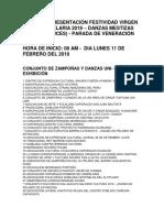 Orden de Presentación Festividad Virgen de La Candelaria 2019