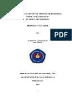 Proposal Kerja Praktek - Re Design Gas Lift Untuk Optimasi Produksi Pada Sumur