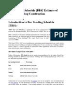 Bar Bending Schedule [BBS] Estimate of Steel in Building Construction