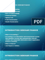 Introduction Seminar Finance