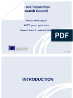 How to write a good AHRC grant application