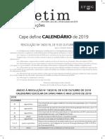 Calendário Acadêmico UFMG 2019