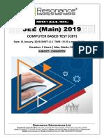 JEE Main 2019 Chemistry January Attempt Shift - 1(11th January, 2019)