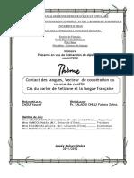 Contact Des Langues , Vecteur Ou Coopération Ou Sourse de Conflit ( Cas Du Parler de Relizane Et La Langue Francaise)