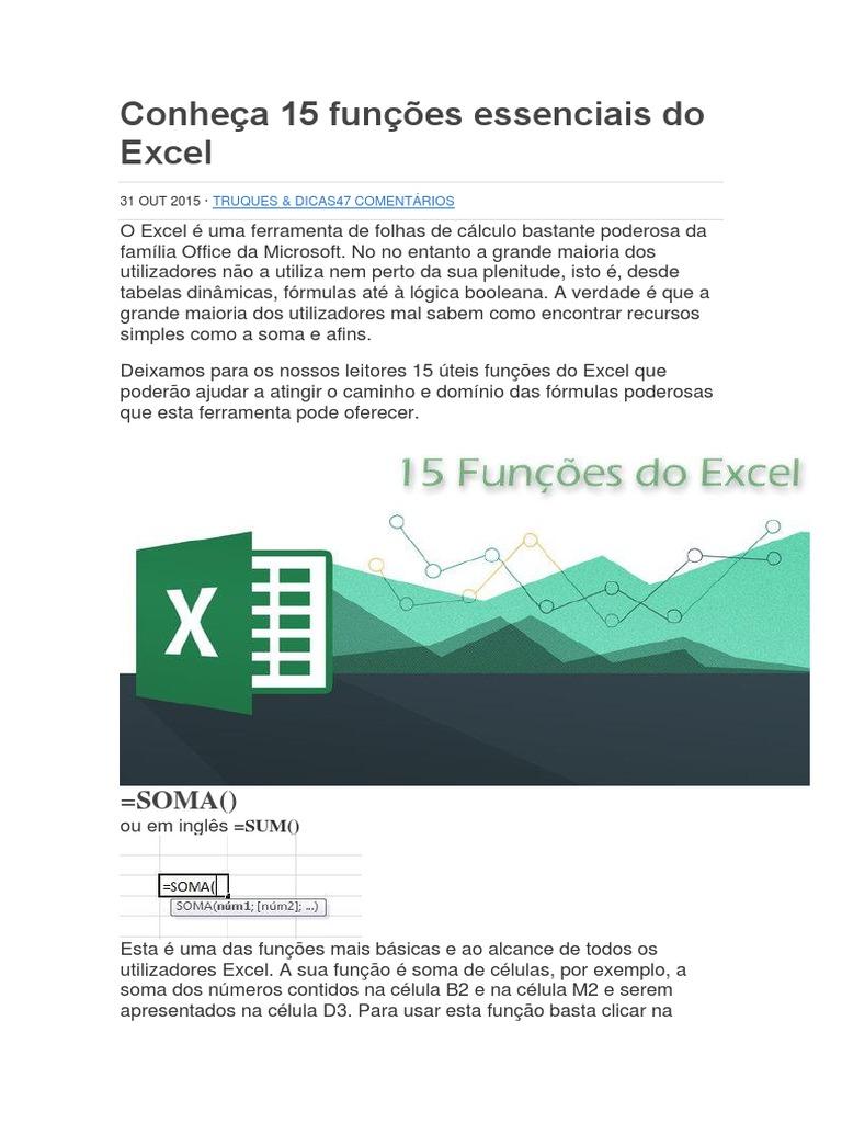 Conheça 20 Funções Essenciais Do Excel   Distribuição de ...