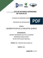 Trabajo Escrito Sedimentación en La Industria Química 8521