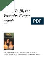 List of Buffy the Vampire Slayer Novels