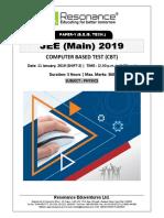 JEE Main 2019 Physics January Attempt Shift - 2(11th January, 2019)