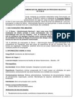 Comunicado de Abertura- De Processo Seletivo DF Assistente Adm I