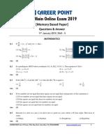 Shift 2 11 Jan JEE Main Maths