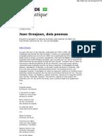 Jean Grosjean, Dois Poemas