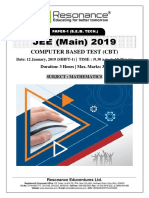JEE Main 2019 Mathematics January Attempt Shift - 1(12th January, 2019)