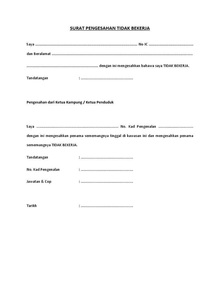Surat Pengesahan Pendapatan Ketua Kampung