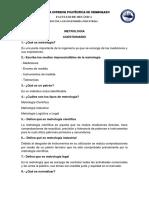 CUESTIONARIO METROLOGIA