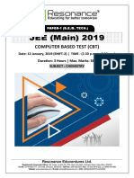 JEE Main 2019 Chemistry Attempt Shift - 2(12th January, 2019)