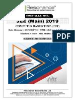 JEE Main 2019 Mathematics Attempt Shift - 2(12th January, 2019)