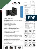 Pentax K-5 Specsheet