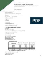 M 20 Mix Design Sample Report
