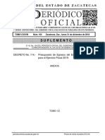 Anexo 1 de la Ley de Egresos del Estado de Zacatecas para 2019
